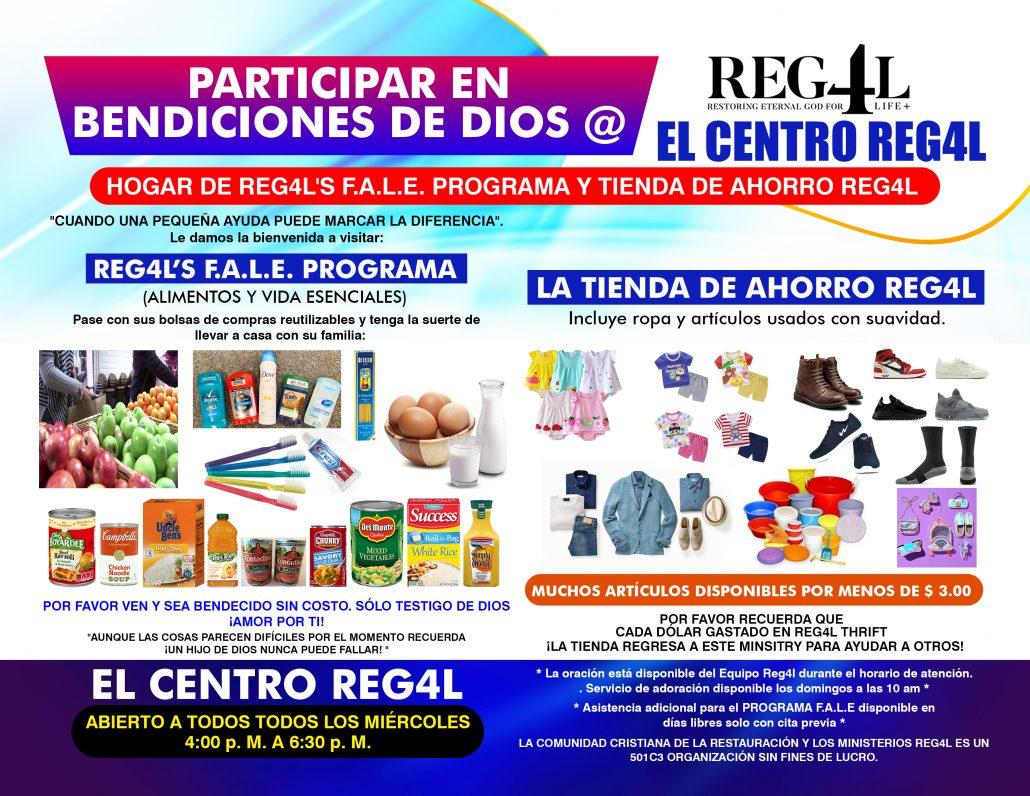 REG4L FAE THRIFT STORE JOINT FLYER OUTLINE Spanish